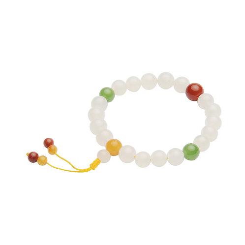 Jade Buddha Prayer Beads Bracelet featured with  Agate