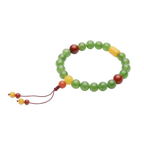 Hetian Jade Buddha Prayer Beads Bracelet featured with  Agate
