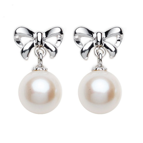 8-9mm Fresh Water  Cream Pearl Elegant Bow Ear Studs Featured with Zircon