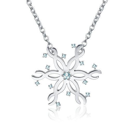 """Sterling Silver with Topaz Romantic Snowflake Pendant Necklace 18""""�"""