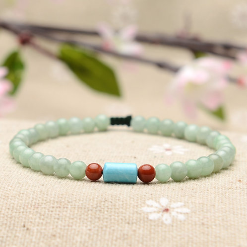 Jadeite and Turquoise Buddha Prayer Beads Bracelet featured with Agate