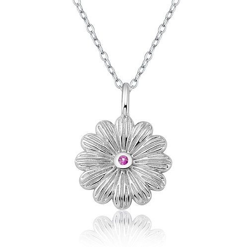 Sterling Silver  Daisy pendant / ear studs with Gems