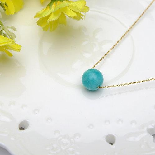 "18K Yellow Gold  Amazonite Necklace 16"""