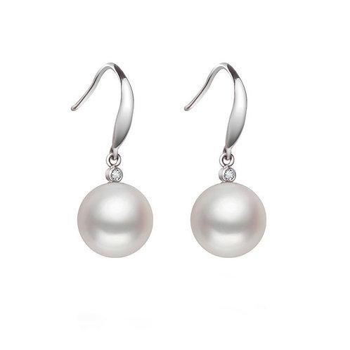 9-10mm AAA Freshwater- Pearl  Sterling Silver with Zircon  Dangle Earrings