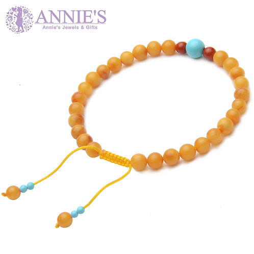 Amber and Turquoise Buddha Prayer Beads Bracelet featured with Agate On