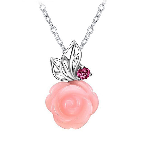 """Sterling Silver with Pink Opal Rose and Tourmaline Pendant Necklace 18"""""""