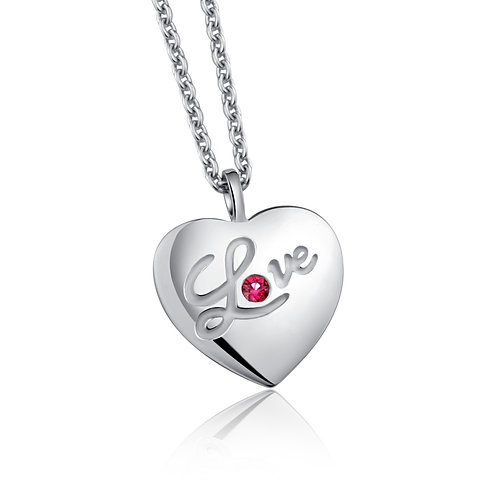 Sterling Silver with Genuine Ruby Heart Pendant necklace