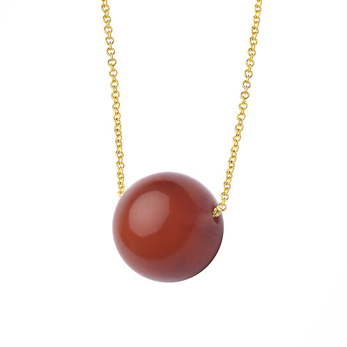 18K Yellow Gold Red Agate Necklace 16""