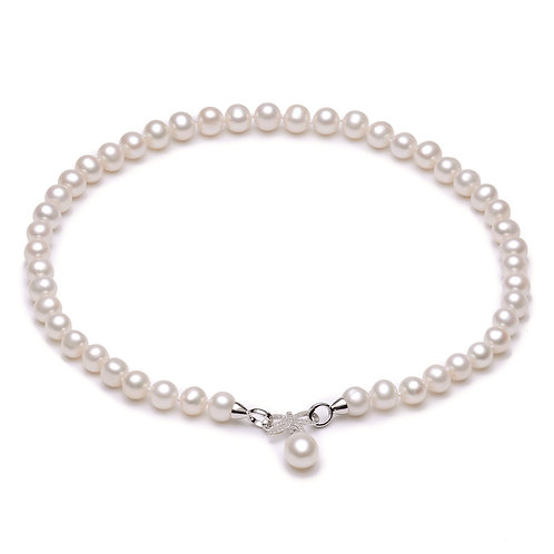 9-10mm White Freshwater Pearl Necklace with a Sterling Silver Zircon Bow Clasp