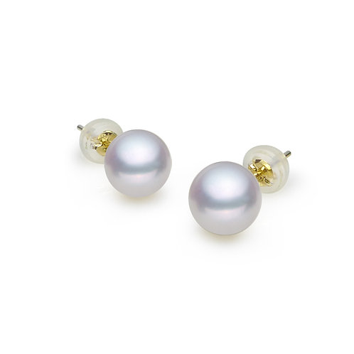 18K Gold 6.5-7mm AAAA White Freshwater-cultured Pearl Gorgeous Earring Studs