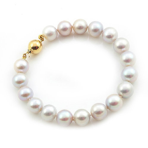14K Gold 8-9MM AAA White Freshwater-cultured Pearl Gorgeous Bracelet