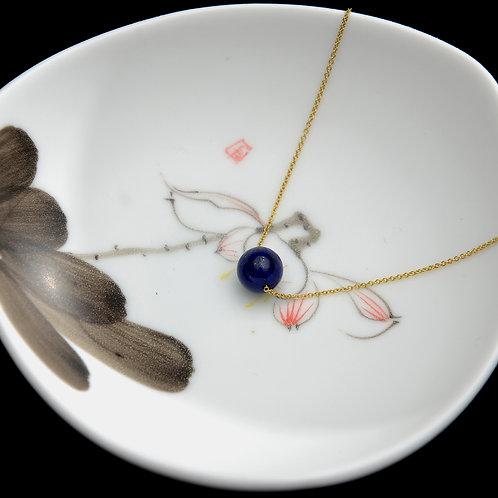 "18K Yellow Gold lapis lazuli Necklace 16"""