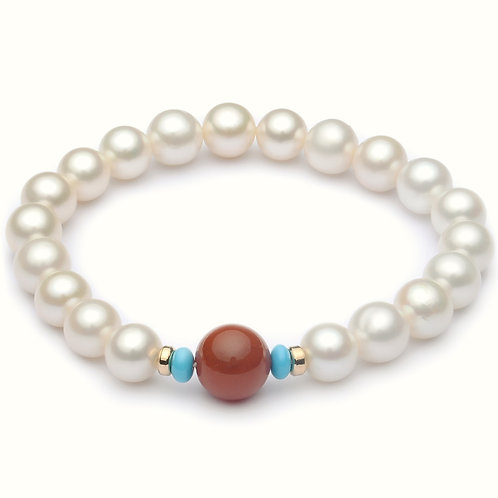 8-9mm round Freshwater Pearl Strand bracelet with Nature red Agate and Turquoise