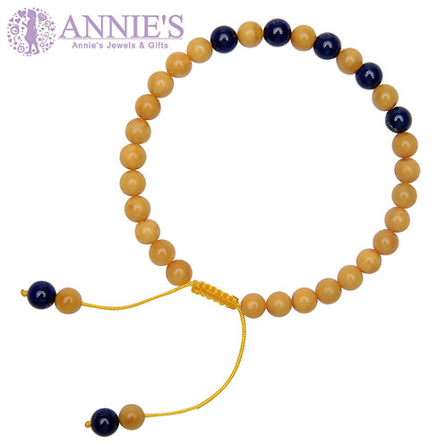 Amber & Lapis Buddha Prayer Beads Bracelet