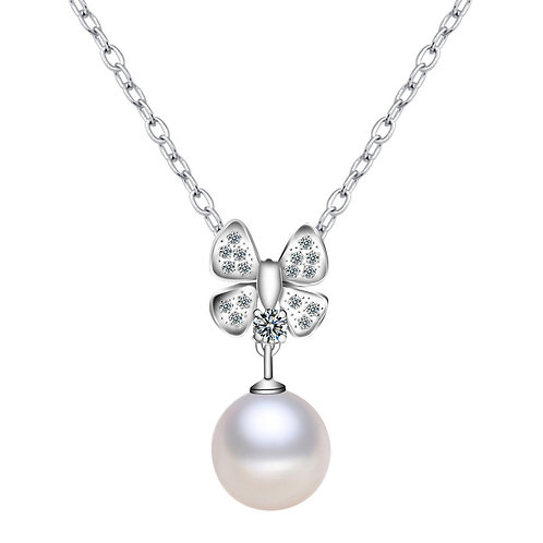 9-10mm AAA White Freshwater Pearl  Silver  Zircon Butterfly  Pendant necklace