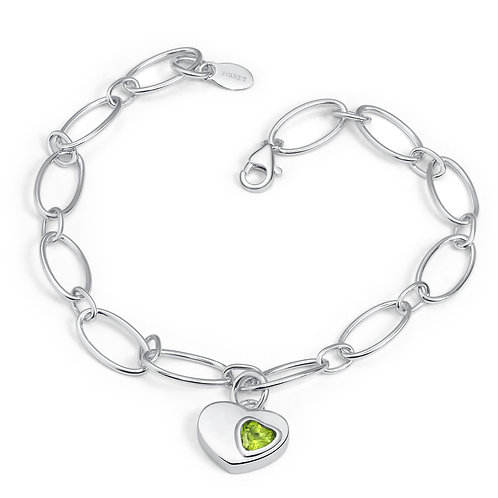 Sterling Silver with Natual Semiprecious Stone Double hearts dangle Bracelet