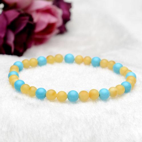 Amber and Turquoise Buddha Prayer Beads Stretch Bracelet