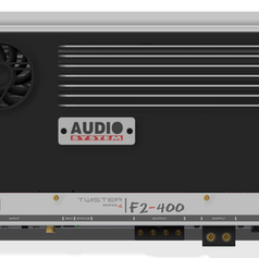 """The F2s are stereo amplifiers equipped with a high dynamic final stage, capable of handling low impedance loudspeaker systems. The high amount of current available quadruples its power in a bridged mono configuration, transforming a """"Small"""" 230 Watt per channel into a 1500 Watt RMS Monster! They integrate reversible crossovers with independent adjustment and are designed to work also in multi-amplification, as elements of a powerful SPL engine by Audiosystem. Their concentration of energy is always expressed in respect for music, enviable tonal qualities, technical characteristics of first class Great power in a compact size ..."""