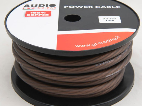 """AD35B / R: 35mmq, with 3087 filaments, in 15 meter roll, ultra flexible, transparent red or black, """"soft touch"""" surface, 100% pure copper OFC cable."""