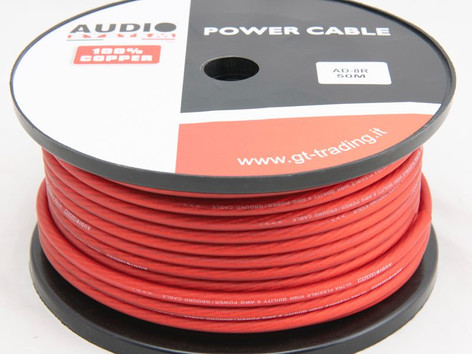 """AD8B / R: 8mmq, with 707 in 50 meter roll, ultra flexible, transparent red or black, """"soft touch"""" surface, 100% pure copper OFC cable."""