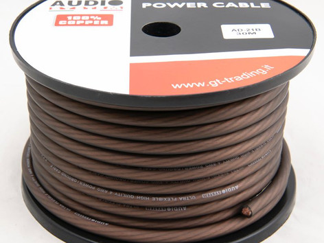 """AD21B / R: 21mmq, with 1862 filaments, in 30 meter roll, ultra flexible, transparent red or black, """"soft touch"""" surface, 100% pure copper OFC cable."""
