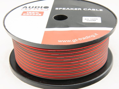 """AD16BR: 2 X 1.5mmq, with 133 filaments per 2, in 100 meter roll, ultra flexible, transparent red / black, """"soft touch"""" surface, 100% pure copper OFC cable."""
