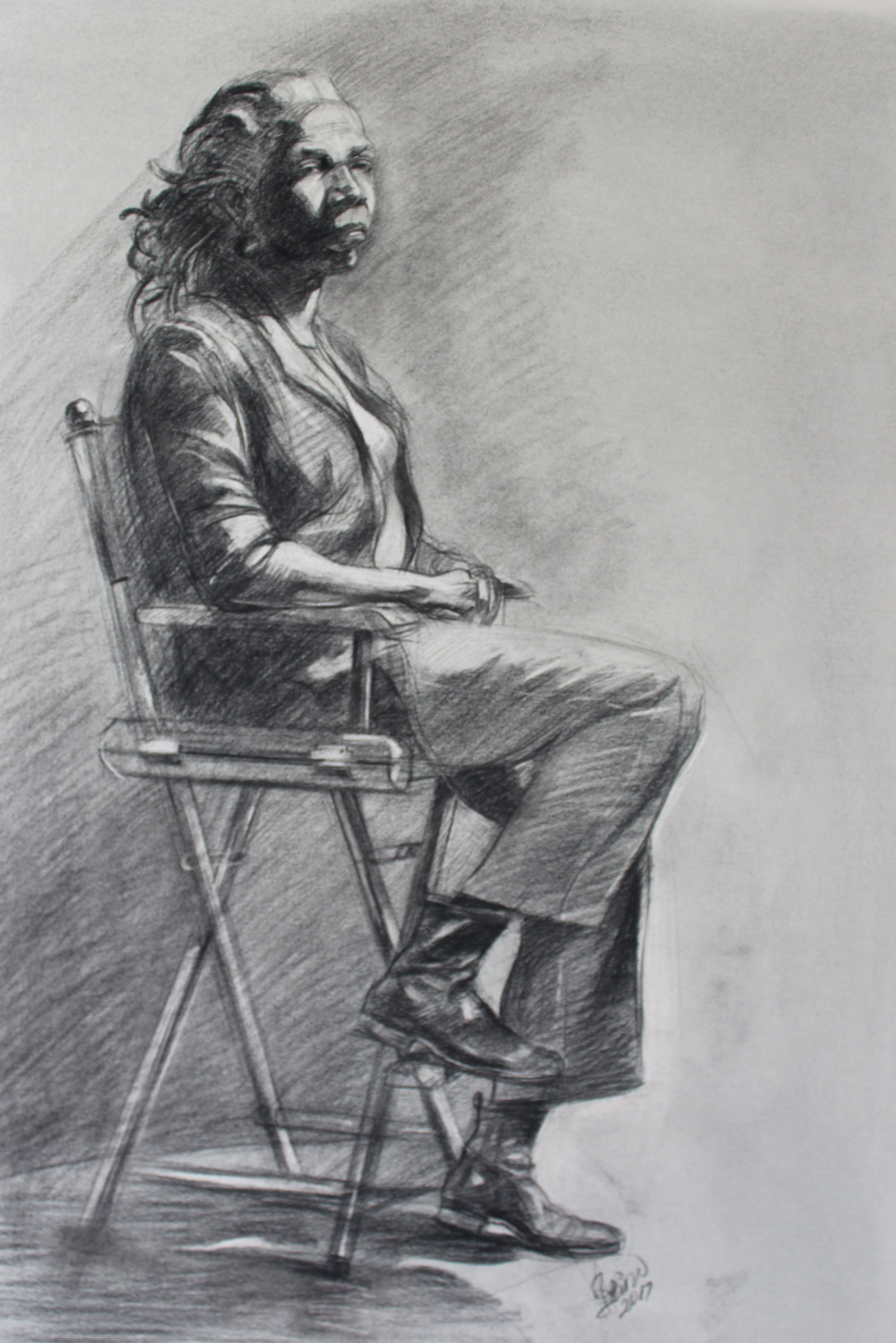 Conte charcoal on paper