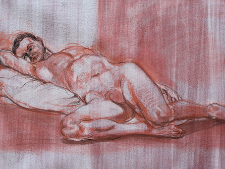 """""""Reclining man"""" conte on tinted paper"""