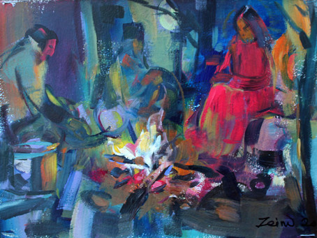 """""""Round the Fire"""" Acrylic on paper"""
