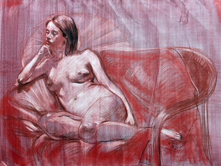 """""""Resting"""" conte on tinted paper"""