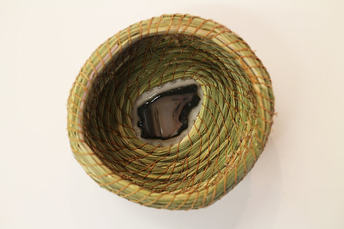 Sweetgrass Coil Basket with Agate