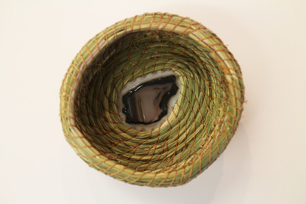 Sweetgrass Coil Basket with Agate Base