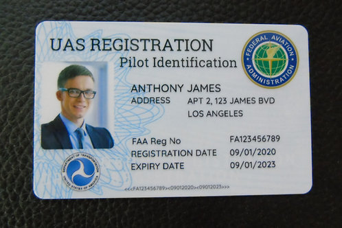 USA Drone registration card