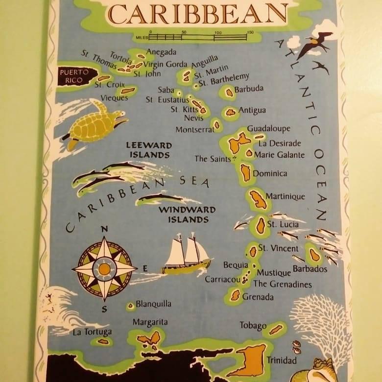 Puerto Rico, Venezuela, Caribbean map, nursery decoration