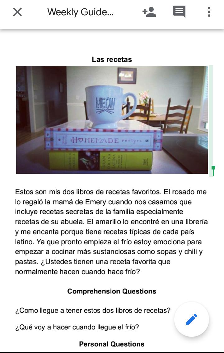 spanish readings, spanish resources, recipes, recetas, cook books, the language movement