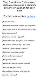 spanish, spanish vlog, language movement, spanish vocab vlog, spanish learning, spanish resources, learn spanish, comprehension questions, personal questions, spanish practice, spanish online