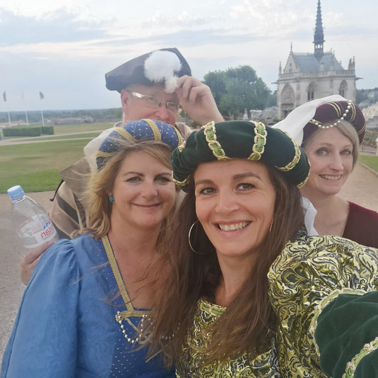 Me and Irish Journalists at a Renaissance Ball in Amboise Chateau