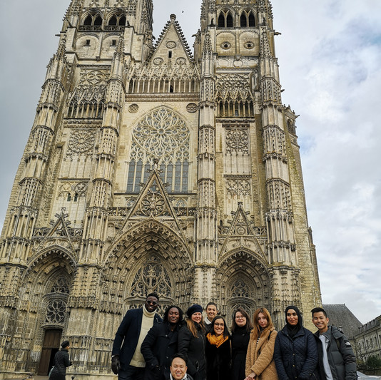 Cathedral of Tours with worldwide students