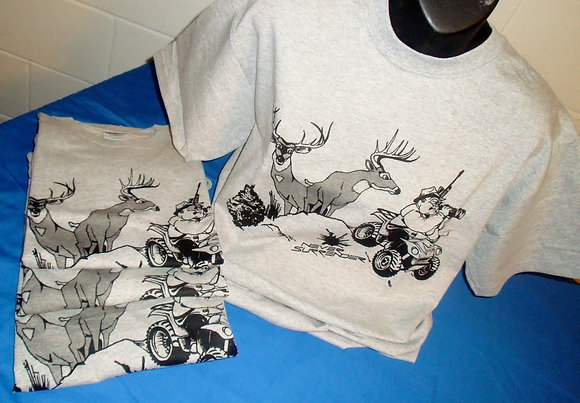 Deer Hunting T Shirt Black On Grey