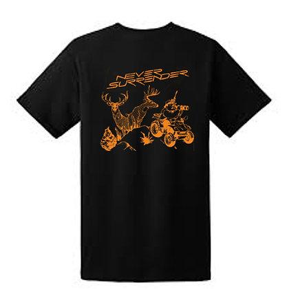 Deer Hunting T Shirt Orange on Black