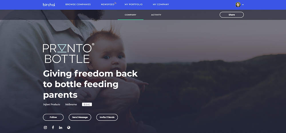 Birchal equity crowdfunding platform photo for Pronto Bottle