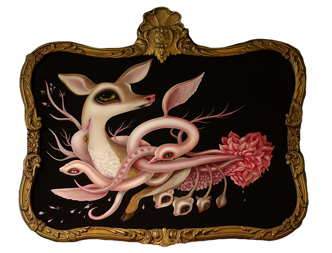 sacredheart jennybird anthropomorphism neosurrealism heart love deer snakes botanicalsurrealism