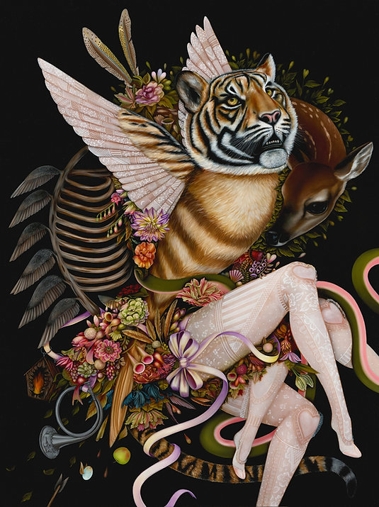 surrealism anthropomorphic deer tiger oil painting fine art jennybird alcantara lacestockings