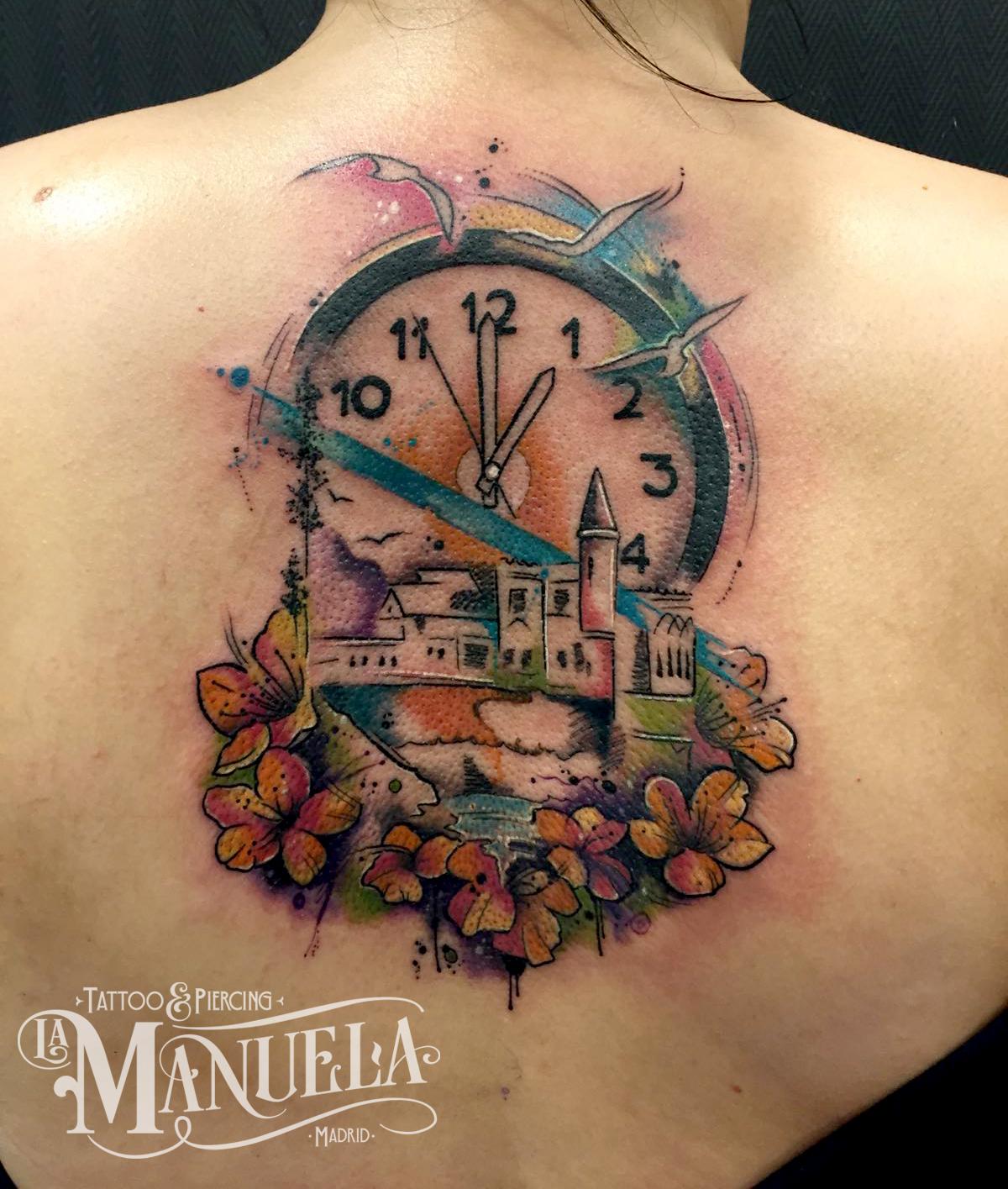 reloj paisaje watercolor