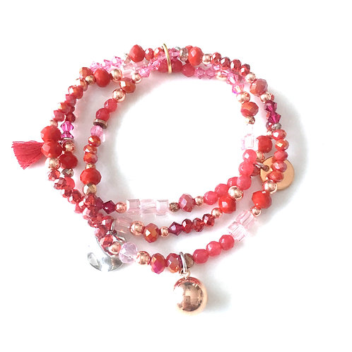 Trio Bracelets Rose / Rouge