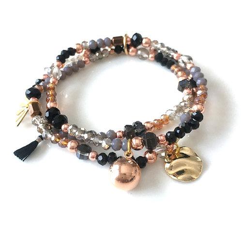 Trio Bracelets Noir/Gris/Camel