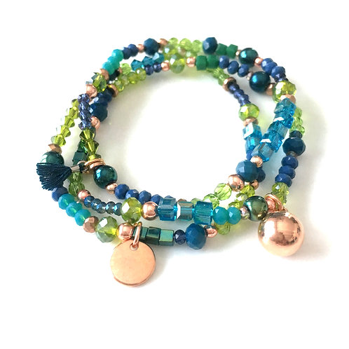 Trio Bracelets Bleu/Vert