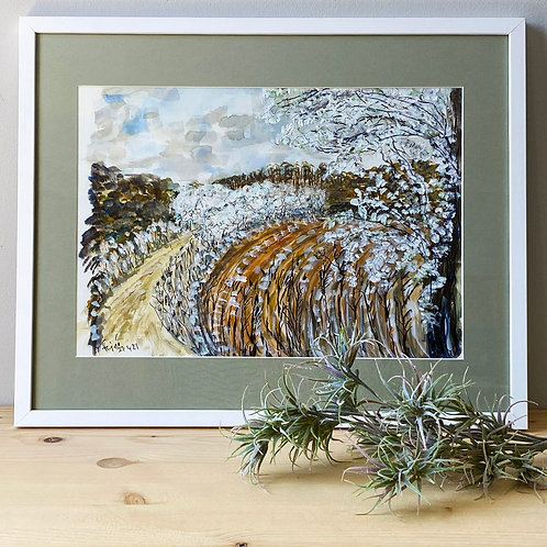 Fields with Blackthorn #1, Framed Painting