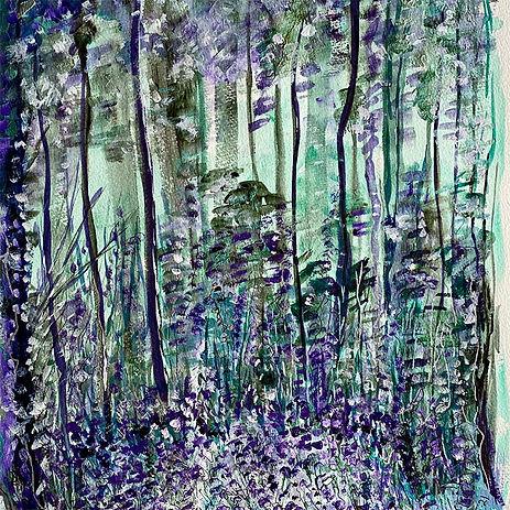 Acrylic painting bluebells