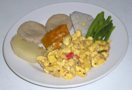 Jamaican Ackee with Saltfish with boiled island medley tray